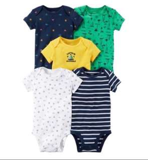 *NB/3M/12M/24M* Brand New Carter's 5-Pack Short Sleeve Bodysuits For Baby Boy