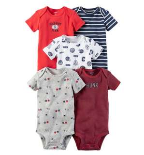 *NB & 3M* Brand New Carter's 5-Pack Short Sleeve Bodysuits For Baby Boy