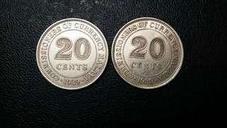 2pcs Malaya 20cent silver. 1939