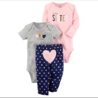 *9M* BN Carter's 3-Piece Little Character Set For Baby Girl (