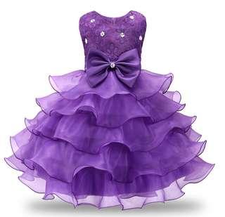 Girls beaded skirt children mesh multi-layer dress