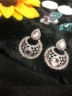 Metallic silver earrings