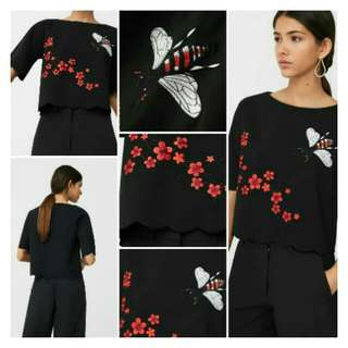 Flower Bugs Embroidered Blouse