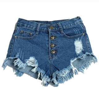 Denim jeans shorts lady irreular highwaisted
