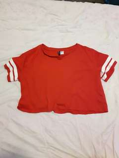 Red crop top with white stripes
