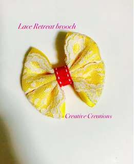 <Ready Stock > Lace Retreat Yellow Bow Brooch