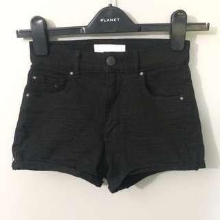 High Waisted Black Jean Shorts