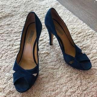 Designer Dark Blue Suede High Heels