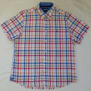 TOMMY HILFIGER MENS SHIRT M slim fit S/Slv white blue check