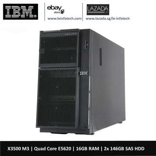 🚚 IBM X3500 M3 Tower Server-Quad core E5620 2.0Ghz -16GB RAM-2x 146GB SAS HDD 30 days warranty