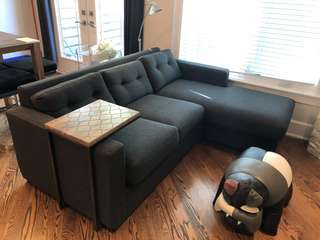 Dark grey fabric Couch with built in chaise lounger