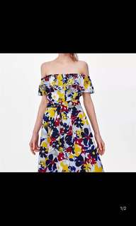 🚚 European and American women's strapless flower print dress