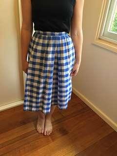 Blue gingham midi skirt