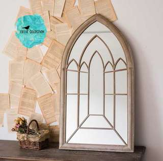 Chapel Gothic Style Rustic garden mirror
