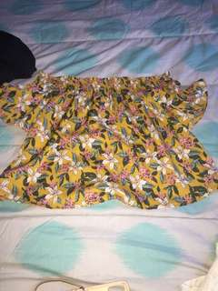 Floral and Yellow Off the shoulder top