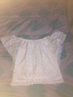 White Lace Miss Vally off the shoulder top