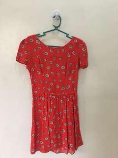 Topshop red floral prints dress