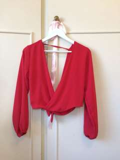 Red Plunge Top