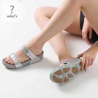 🚚 Korea·Ollie 👡 韓國金蔥橫條防滑顆粒拖鞋
