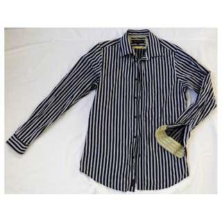BEN SHERMAN designer MENS SHIRT L black silver grey stripe