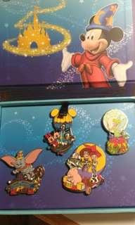香港迪士尼樂園5周年奇妙處處通會員限定pin set (一套共4個)