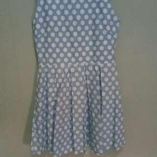 Dress polkadot biru putih
