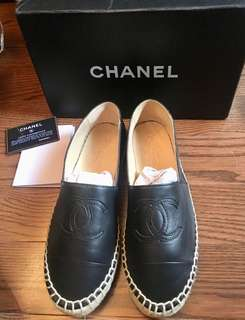 Leather Chanel Espadrilles- Size8