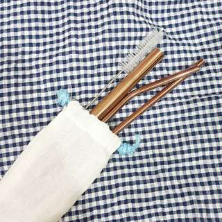 Rose Gold Straw All-In Set