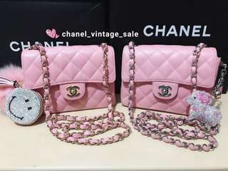 Chanel classic mini 17cm pink caviar in stock