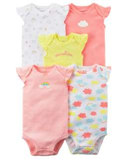BN 6M Carter's 5 piece Baby Girl Rompers Onesies Bodysuits