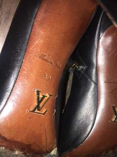 Authentic Louis Vuitton black leather and suede booties