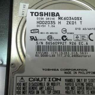 TOSHIBA 60GB  2.5隨身碟含運費300元