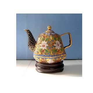 Vintage cloisonne teapot with wood stand hand made in Beijing circa 1960s