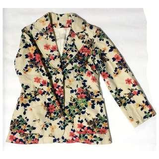 古著花柄毛料西裝外套