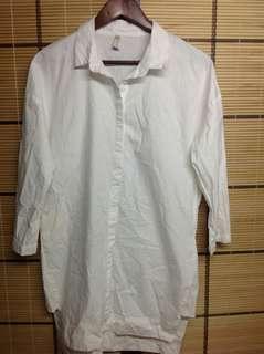 WHITE COTTON BOYFRIEND TOP / DRESS (S)