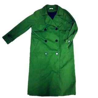 郵差綠色長版落肩顯瘦風衣