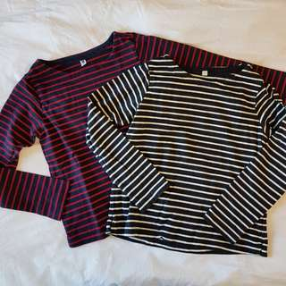 Uniqlo Girls' Long-sleeved Boat-neck Tops (sold separately)