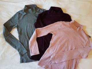 Uniqlo Girls' Long-sleeved Turtle Neck Tops (sold separately)
