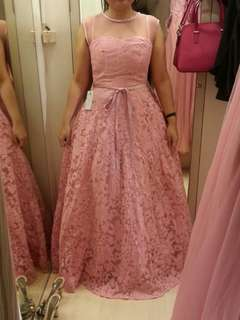 Long Dress Pesta Brokat Pink