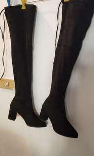 🚚 麂皮綁帶長靴 24.5 近新