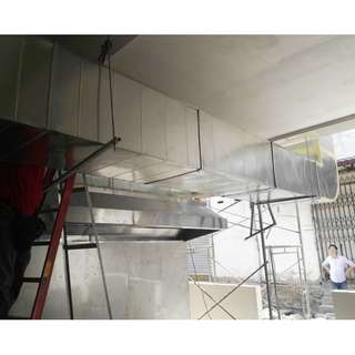 COOKER HOB AND HOOD EXHAUST FAN STAINLESS STEEL KWALI BURNER DUCTING AND AIR COOLER INSTALLATION
