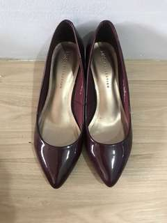 Marks and Spencer Burgundy Mid Heel Court Shoes
