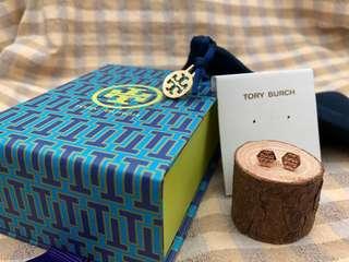 Tory Burch玫瑰金色六角形耳環