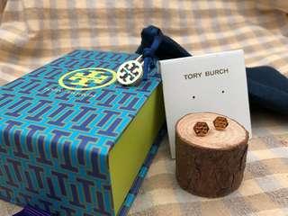 Tory Burch金色六角形耳環