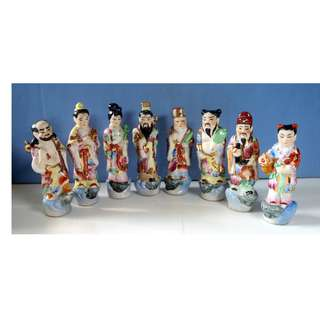 Vintage rare porcelain statues Chinese 8 immortal deities circa 1950s