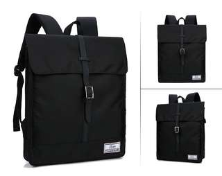 🚚 【Q夫妻】backpack 英倫時尚 後背包 雙肩包 電腦包 休閒包 書包 黑色 B11-2