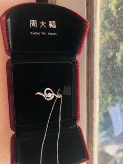 周xx品牌的18K金盒子頸鏈連鑽石吊咀(附証書收據)