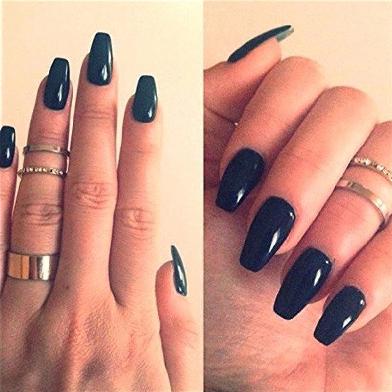 Outstanding Fake Nails Coffin Shape Photo - Nail Art Design Ideas ...