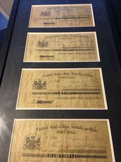 Chartered Bank of India, Australia and China, post bills for $10, $50 and $100, Singapore, 1859-1860