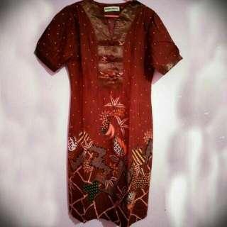 RePrice For Ramadhan Batik dress Krisna Wahyu Maroon
